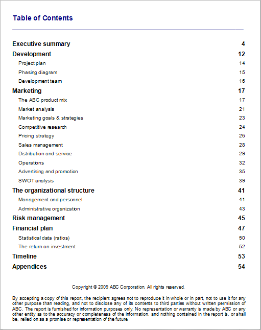 Standard business plan table contents